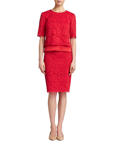 St. John Collection Florentine Lace Elbow-Sleeve Top & Skirt