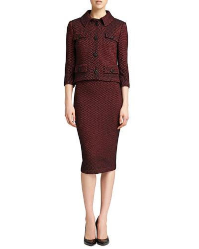 St. John Collection Stripe Knit 3/4-Sleeve Jacket, Pencil Skirt & Sleeveless Crinkle Silk Shell