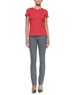 Lafayette 148 New York Short-Sleeve Scoop-Neck Tee With Charmeuse Trim & Rain Bella Curvy Slim Jeans