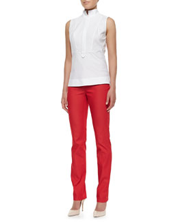 Lafayette 148 New York Stretch Cotton Sleeveless Top & Dynamite Curvy Slim Jeans