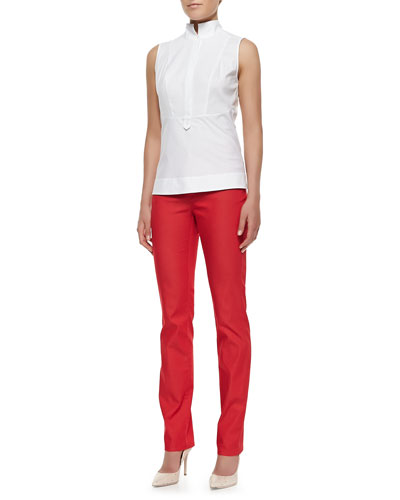 Lafayette 148 New York Stretch Cotton Sleeveless Top & Dynamite Curvy Slim Jeans
