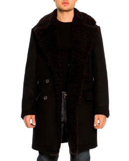 Dolce & Gabbana Shearling Lining Double-Breasted Pea Coat, Ribbed Crewneck Sweater & 16 Classic Denim Jeans