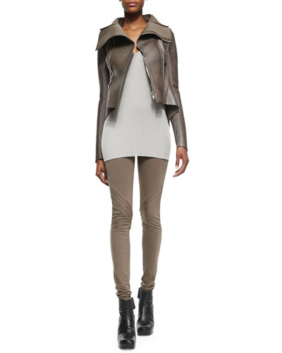 Rick Owens Lilies Arch-Hem Faux-Leather/Ponte Jacket, Sleeveless V-Neck Slub-Knit Top & Lightweight Pull-On Jersey Leggings