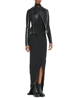 Rick Owens Lilies Asymmetric Faux-Leather/Ponte Flared Jacket & Heavy Jersey Draped Faux-Wrap Dress
