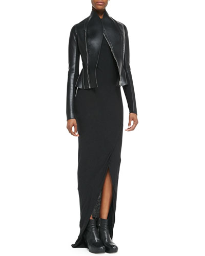 Rick Owens Lilies Asymmetric Faux-Leather/Ponte Flared Jacket & Heavy Jersey Draped Faux-Wrap Dress