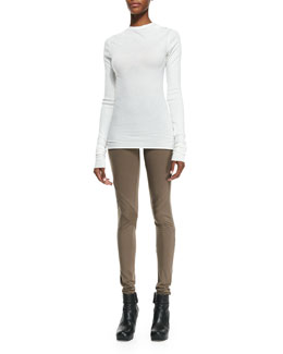 Rick Owens Lilies Heavy Jersey Drape-Neck Top & Lightweight Pull-On Jersey Leggings