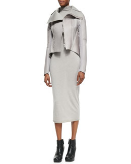 Rick Owens Lilies High-Neck Leather Jacket & Long-Sleeve Turtleneck Knit Dress