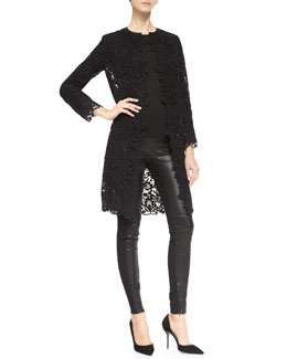 Ralph Lauren Black Label Thora Lace Duster Coat, Audrey Long-Sleeve Knit Top & Jamie Leather/Stretch Pants