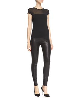 Ralph Lauren Black Label Short-Sleeve Luxury Silk Top & Jamie Leather/Stretch Pants