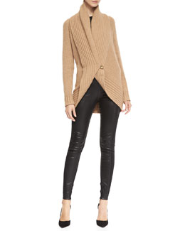 Ralph Lauren Black Label Merion Chunky-Knit Wool-Cashmere Cardigan, Audrey Long-Sleeve Knit Top & Jamie Leather/Stretch Pants