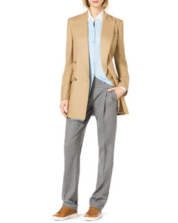 Michael Kors  Long Felt Boyfriend Jacket, Contrast-Trim Silk Blouse & Pleated Slouchy Trousers