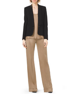 Michael Kors  Shawl-Collar Crepe Blazer, Sleeveless Scoop-Neck Satin Tank & Satin Pull-On Pajama Pants