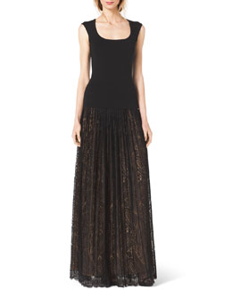 Michael Kors  Scoop-Neck Cap-Sleeve Top & Paisley Lace Pleated Maxi Skirt