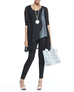 Eileen Fisher Gossamer Crepe Open Cardigan, Printed Silk Asymmetric Draped Shell & Slouchy Silk Ankle Pants