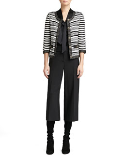 St. John Collection Stripe Knit 3/4-Sleeve Jacket, Long-Sleeve V-Neck Tie Blouse & Modern Stretch Gaucho Pants