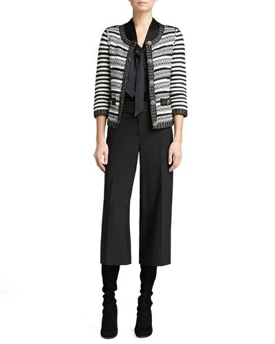 St. John Collection Stripe Knit 3/4-Sleeve Jacket, Long-Sleeve V-Neck Tie Blouse & Modern Stretch Gaucho Pants