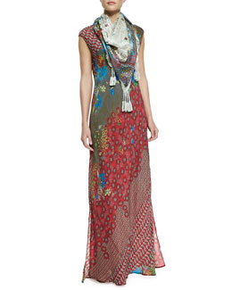 Johnny Was Collection Saydie Printed Maxi Dress & Jace Printed Silk Scarf
