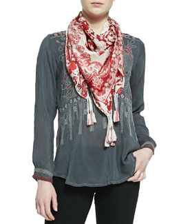 Johnny Was Collection KoKo Embroidered Silk Blouse & Igory Lisa Printed Silk Scarf