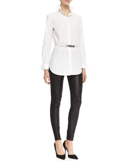 Ralph Lauren Black Label Crawford Long-Sleeve Belted Shirt & Jamie Leather/Stretch Pants