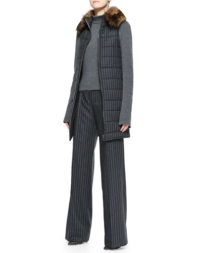 Oscar de la Renta Pinstripe Puffer Vest with Fur Collar, Long-Sleeve Turtleneck & Wide-Leg Pinstripe Trousers