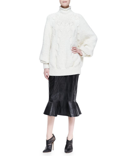 Oscar de la Renta Dolman-Sleeve Cable Sweater and Leather Midi Skirt with Peplum Flare