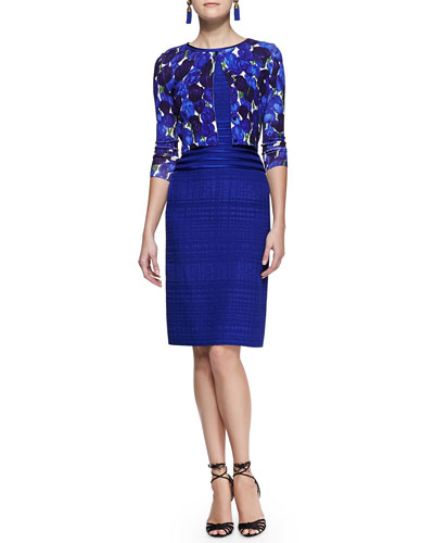 Oscar de la Renta Rose-Print Cropped Cardigan and Sleeveless Striped-Waist Dress