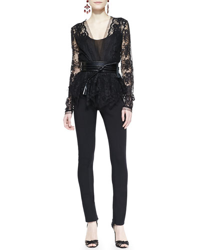 Oscar de la Renta Deep-V Lace Top, Skinny Wool-Blend Pants & Wide Leather Tassel Belt