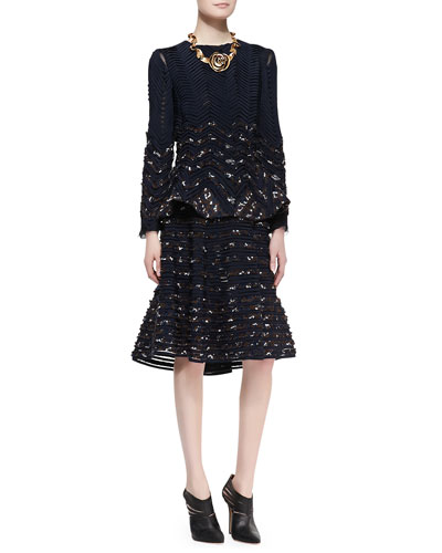Oscar de la Renta Long-Sleeve Ribbon Jacket & Flared Midi Skirt