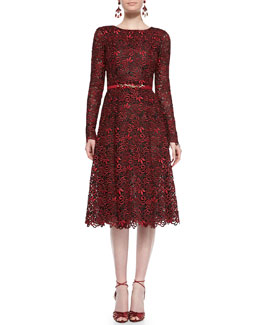 Oscar de la Renta Long-Sleeve Cutout-Lace Dress and Silk Cabochon-Buckle Belt