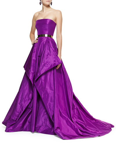 Oscar de la Renta Strapless Fold-Detail Ball Gown and Golden Metal Waist Belt