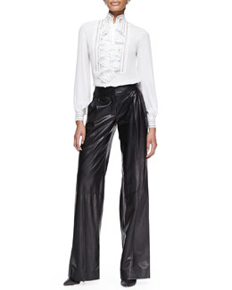 Oscar de la Renta Long-Sleeve Ruffle Blouse & Wide-Leg Leather Trousers