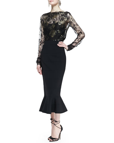 Oscar de la Renta Metallic-Embroidered Lace Blouse & Midi Skirt with Peplum Flare