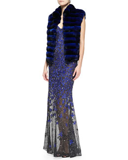 Oscar de la Renta Chinchilla Fur Vest & Strapless Beaded Embroidered Mermaid Gown