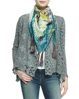 Johnny Was Collection Floral/Butterfly Print Georgette Scarf & Crochet Coverup Cardigan