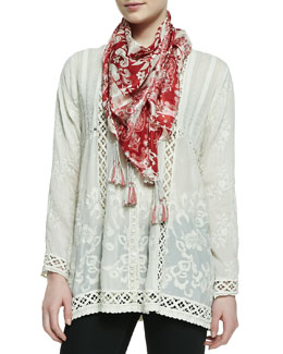 Johnny Was Collection Ivory Lisa Printed Silk Scarf & Tasha Button-Front Blouse