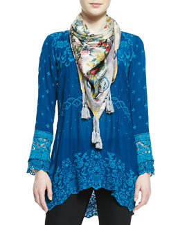Johnny Was Collection Red Cloud Floral Print Georgette Scarf & Amilia Georgette Embroidered Tunic