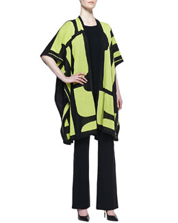 Misook Fiona Brocade Cardigan, Crewneck Half-Sleeve Shell & Boot-Cut Pants