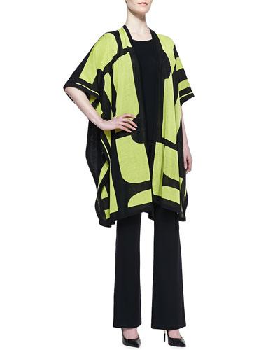 Misook Fiona Brocade Cardigan, Crewneck Half-Sleeve Shell & Boot-Cut Pants, Women's