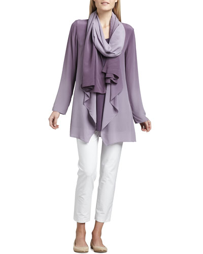 Eileen Fisher Ombre Silk Jacket, Sleeveless Jersey Tunic, Ombre Silk Scarf & Slim Ankle Pants