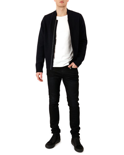 Knit Zip-Front Cardigan, Jersey Crewneck Tee & Ace Skinny Cash Jeans