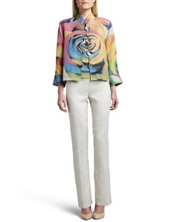 Caroline Rose Big Flower Jacket, Shell & Tissue Linen Straight-Leg Pants, Petite