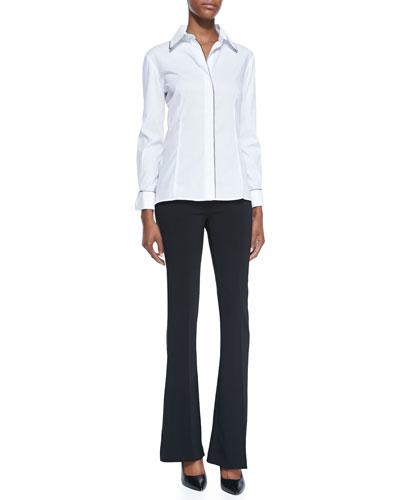 Avenue Montaigne Florence Contrast-Trim Button-Down Blouse & Bellini Bell-Bottom Pants