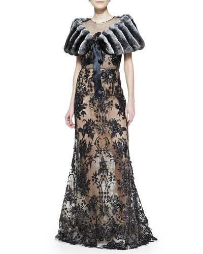 Oscar de la Renta Chinchilla Fur Stole with Ribbon & Embroidered Lace Gown