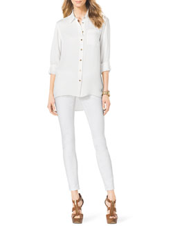 MICHAEL Michael Kors  High-Low Silk Blouse & Slim Jeans