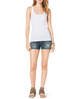 MICHAEL Michael Kors  Ribbed Sweater Tank & Destroyed Denim Cutoff Shorts