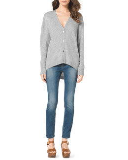 MICHAEL Michael Kors  High-Low Cashmere Cardigan & Faded Denim Skinny Jeans