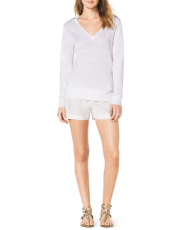 MICHAEL Michael Kors  Linen Slub V-Neck Sweater & Pull-On Linen Boxer Shorts