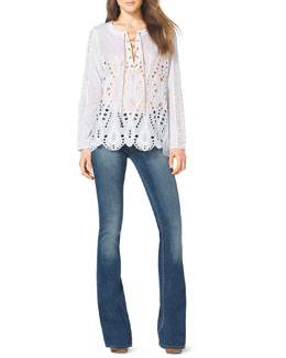 MICHAEL Michael Kors  Lace-Up Eyelet Top & Skinny Boot-Cut Jeans