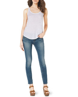 MICHAEL Michael Kors  Sleeveless Slub Tank & Faded Denim Skinny Jeans