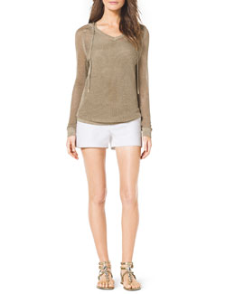 MICHAEL Michael Kors  Shimmery Hooded Sweater & Stretch Clean Mini Shorts